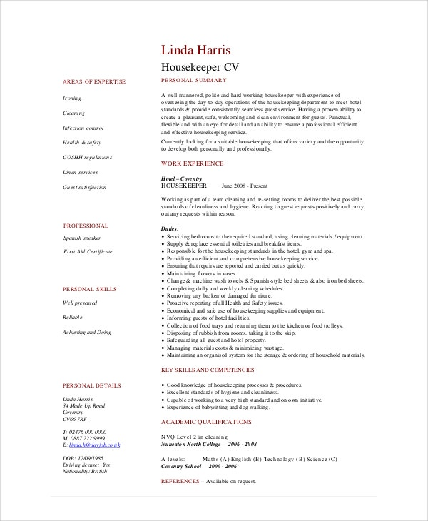 Housekeeping Resume Template - 4+ Free Word, Pdf Documents