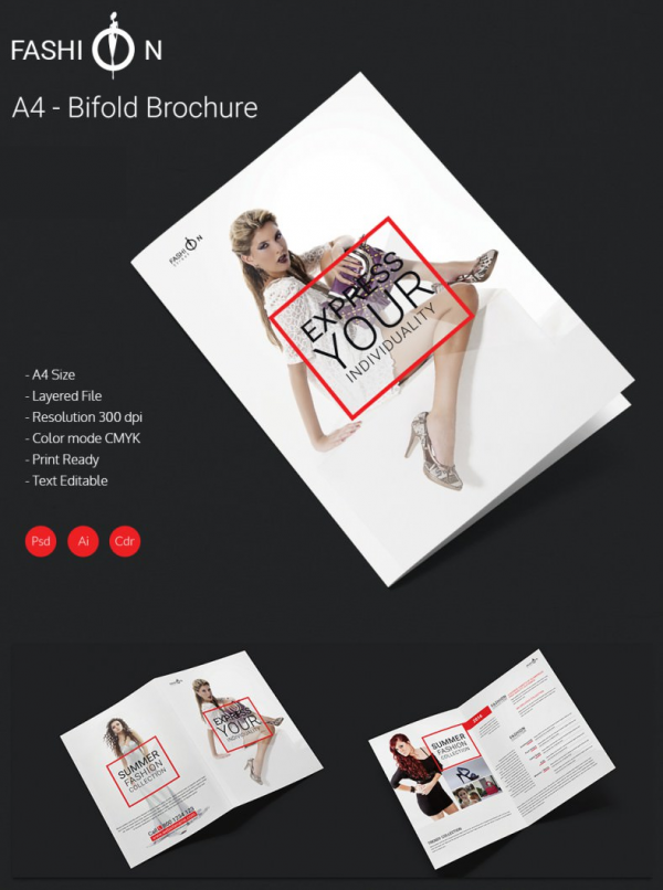 Grand Fashion A4 Bi Fold Brochure Template – Fashion Design Brochure Template