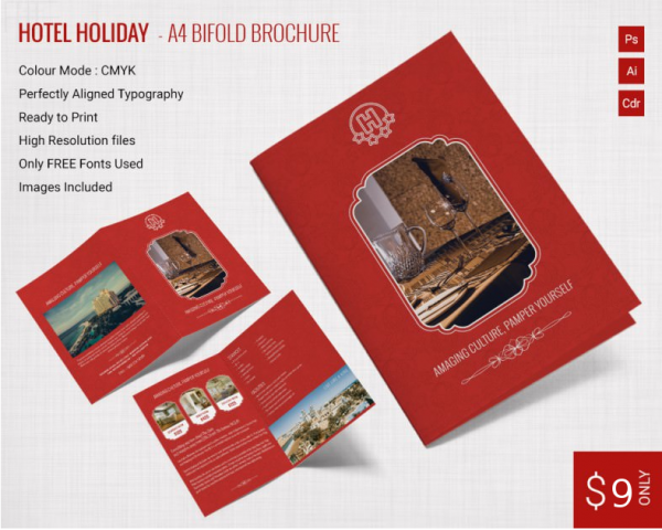 hotel and holiday a4 bi fold brochure