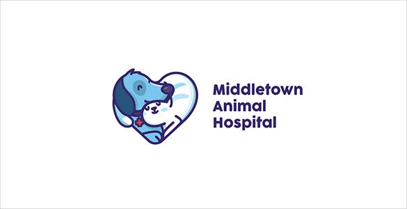 beautiful animated pet animal hospital logo template