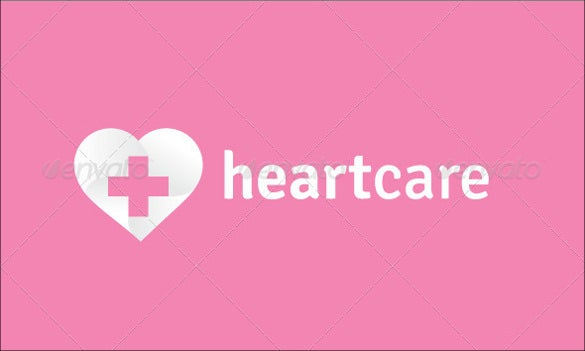 pink coloured background heart care hospital logo template