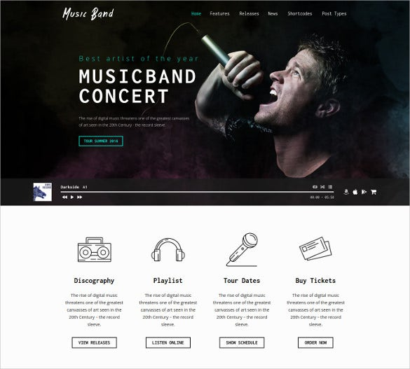 music band recording studio wordpress theme