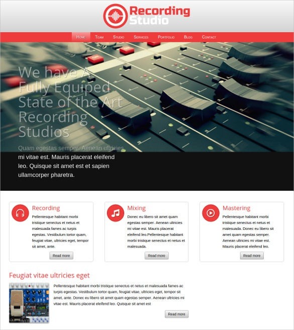 perfect recording studio wordpress theme