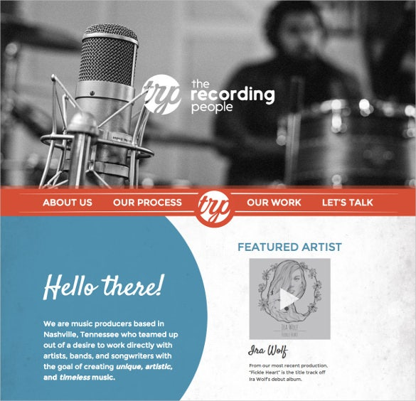 premium one page recording wordpress template