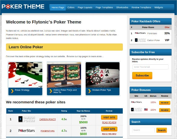 pretty poker wordpress website theme
