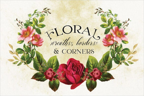 floral wreaths borders corner for invitation backgrounds