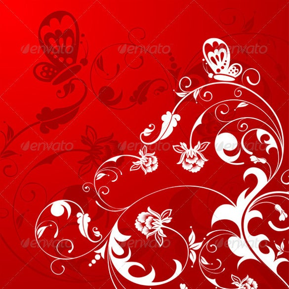 red color floral background eps vector