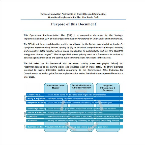 12 implementation plan templates free sample example format it is an companion document to the strategic implementation plan an operational implantation plan template will help you reach and establish the accmission Choice Image