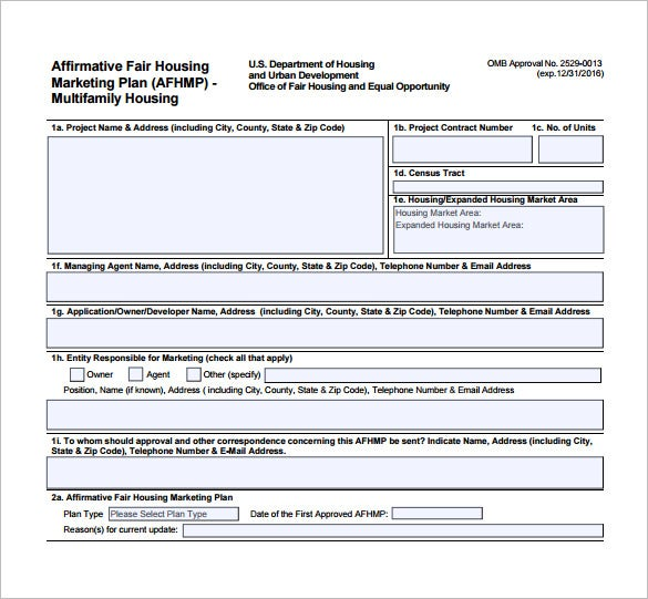 affirmative fair housing marketing plan example pdf free download