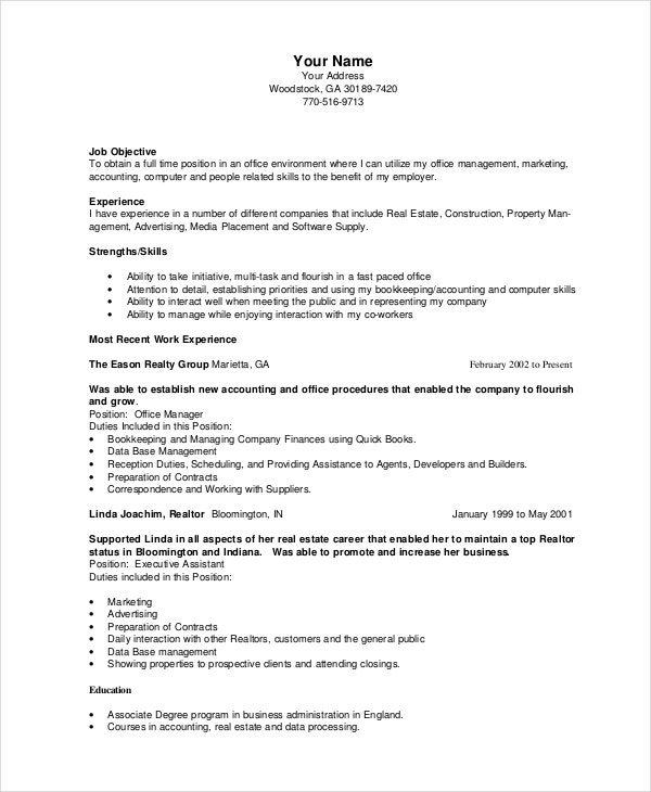 Bookkeeper Resume Template   5+ Free Word, Pdf Documents Download