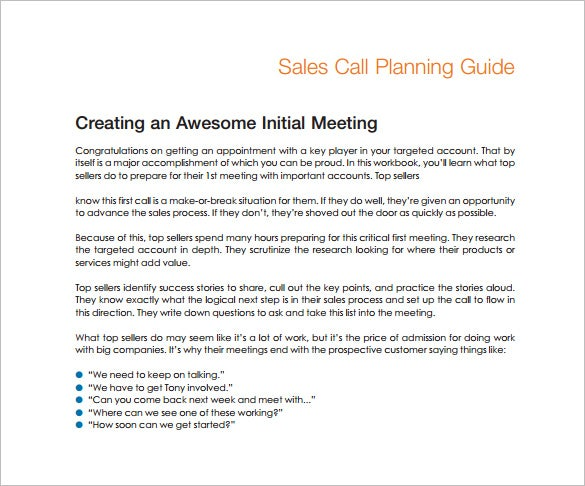 Sales Call Plan Sample PDF Template Free Download