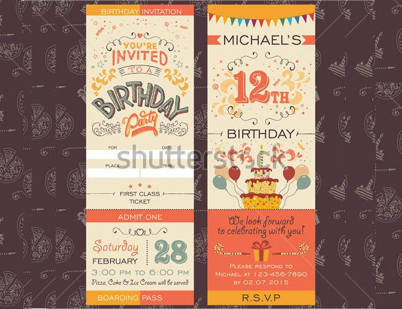 birthday party invitation ticket for boarding