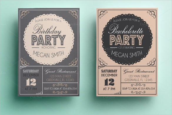 colourful and simple birthday party invitaton