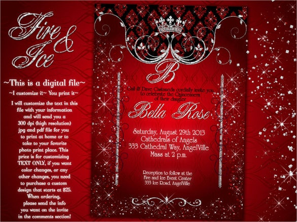 red coloured themed birthday party invitations
