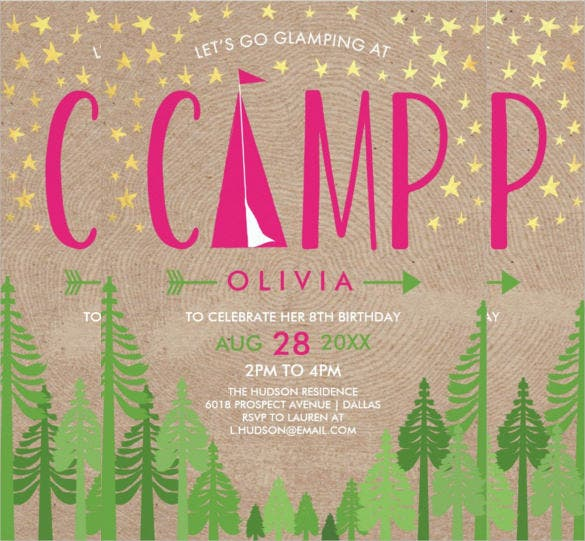 camp themed birthday party invitation party
