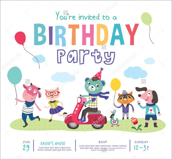 simple birthday party invitation for small children