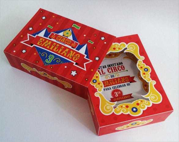 creative and elegant circus box birthday invitation