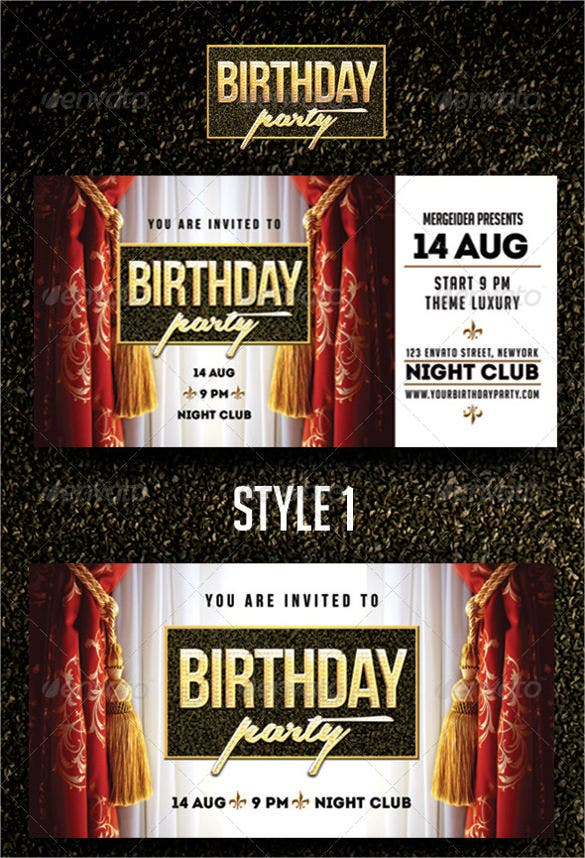 dark coloured club birthday party invitation
