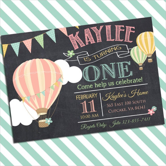 ballon designed birthday party invitations for small boys and girls