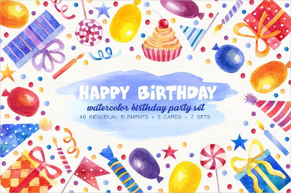 cute watercolored birthday party invitation