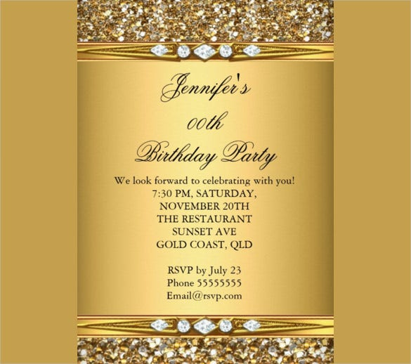 beautiful gold glitter coloured birthday party invitation