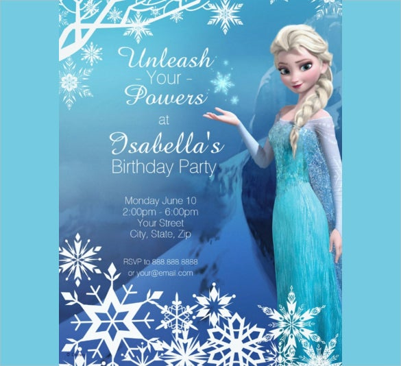 Birthday Party Invitation Templates Free Sample Example - Birthday invitation frozen theme