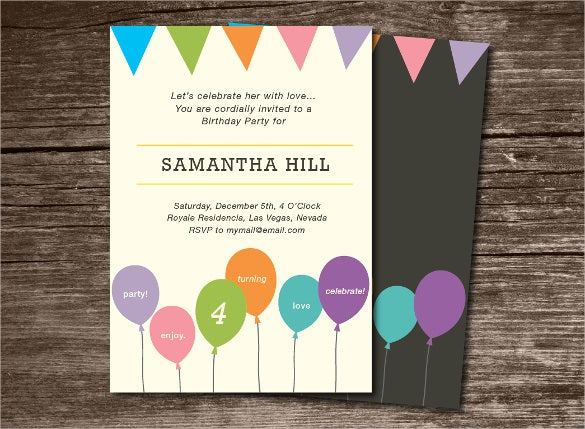birthday party invitation with balloon and banners