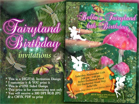 fairy themed birthday party invitation for girls
