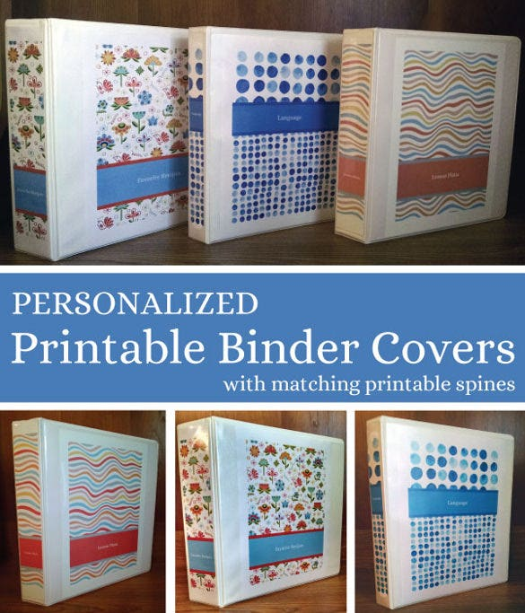 free personalized printable binder covers template