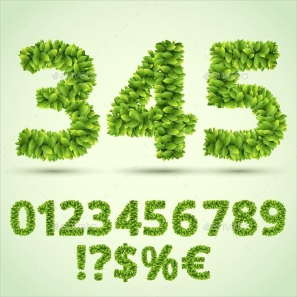 Green Fresh Leaves Ecology Number Fonts