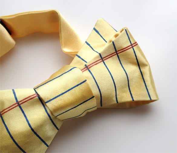 yellow lined paper bow tie