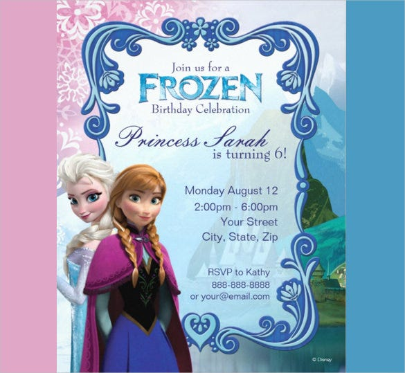 picture relating to Free Printable Frozen Invites titled 23+ Frozen Birthday Invitation Templates - PSD, AI, Vector