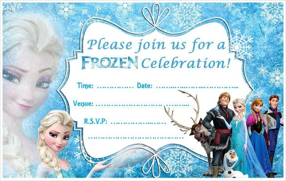 graphic regarding Free Printable Frozen Invites identify 23+ Frozen Birthday Invitation Templates - PSD, AI, Vector