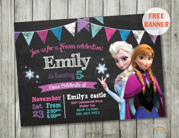 chalkboard coloured frozen birthday invitation template