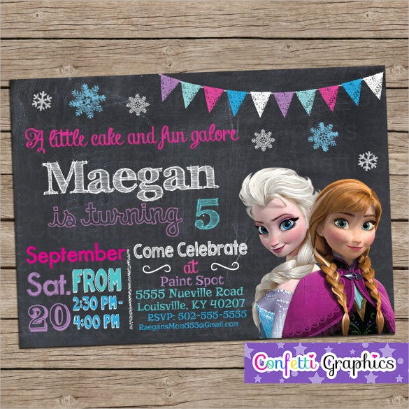 colorful custom printable personalized frozen birthday invitation