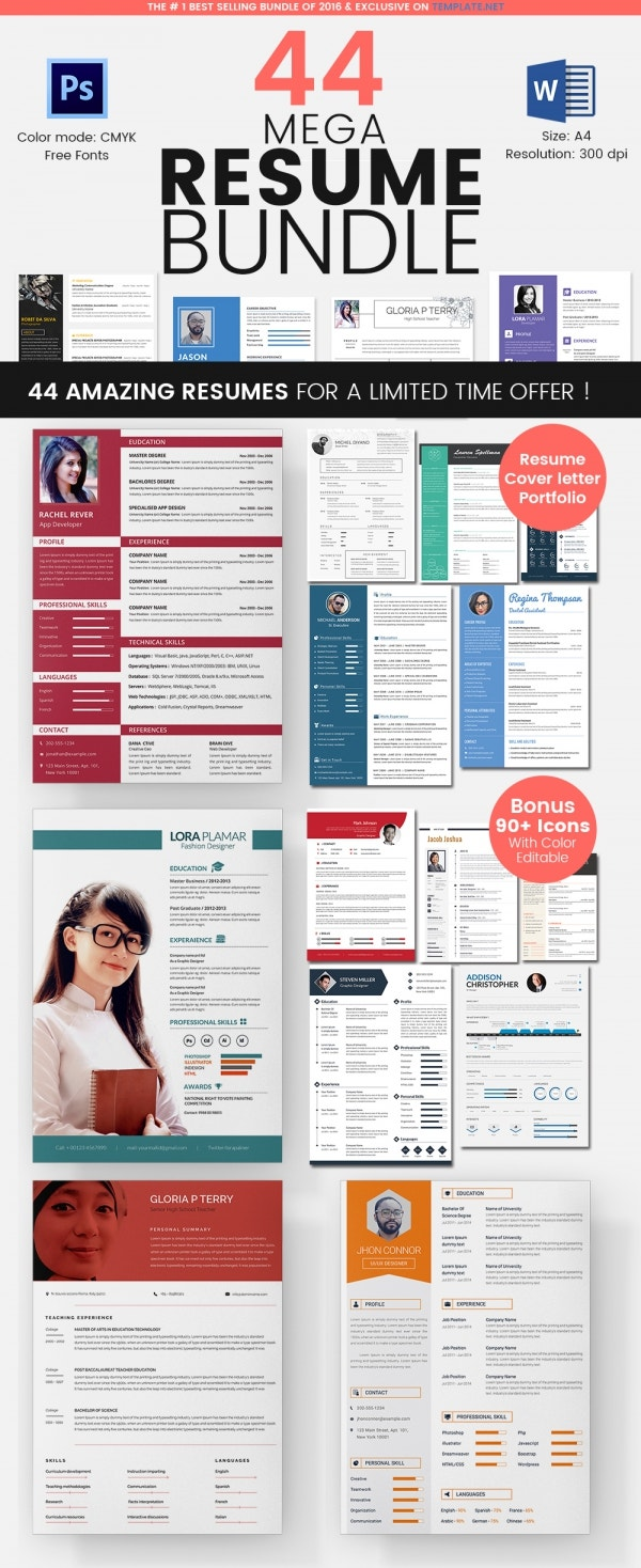 44 resume template bundle for 69 - Resume Templates For Microsoft Word