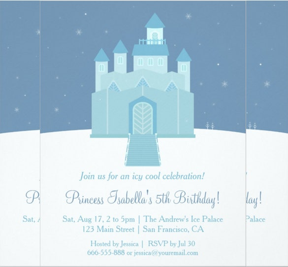 palace designed frozen birthday invitation template