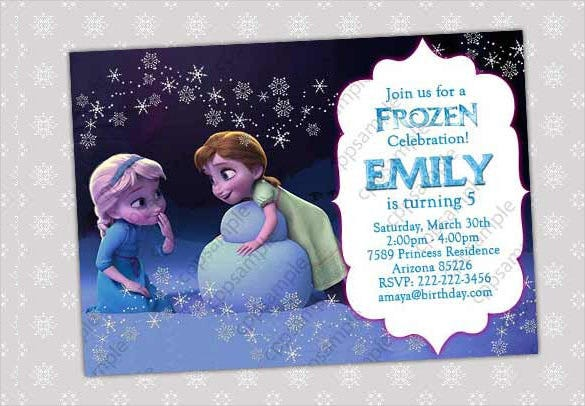 Frozen Birthday Invitation Template For Small Kids