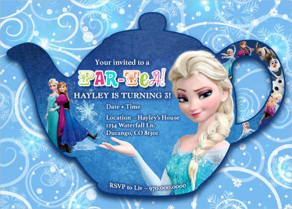 teapot shaped frozen birthday invitation template