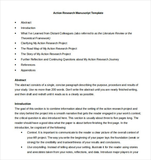 ... Example Format Free Action Research Paper Outline Template Word Doc