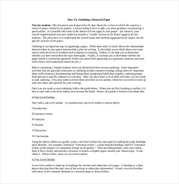 8+ Research Paper Outline Templates – Free Sample, Example, Format
