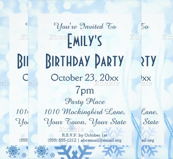 frost ice frozen birthday party invitation