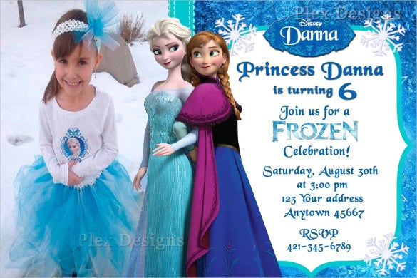 picture based frozen birthday invitation