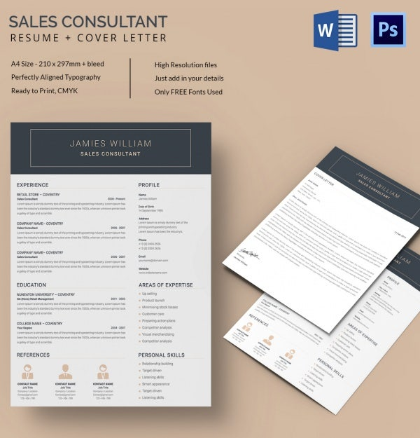 editable sales consultant resume cover letter template - Microsoft Word Free Resume Templates