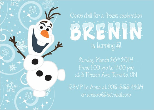 olaf frozen birthday invitation template for kids