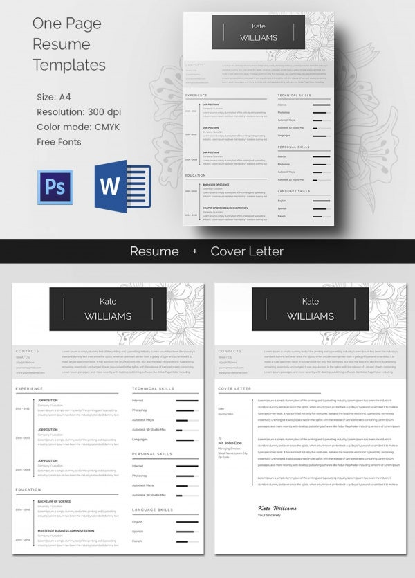 One Page Personal Resume + Cover Letter Template  Pages Resume Template