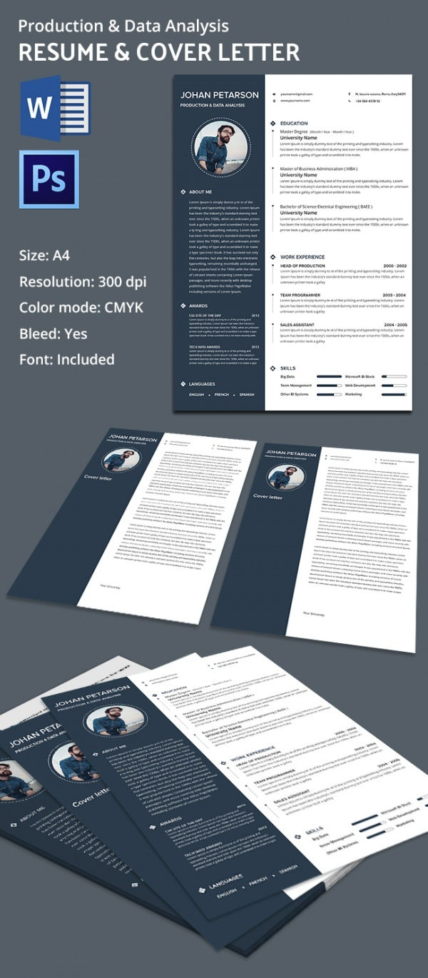 Production And Data Analysis Resume Template + Cover Template  Word Resume Template Mac