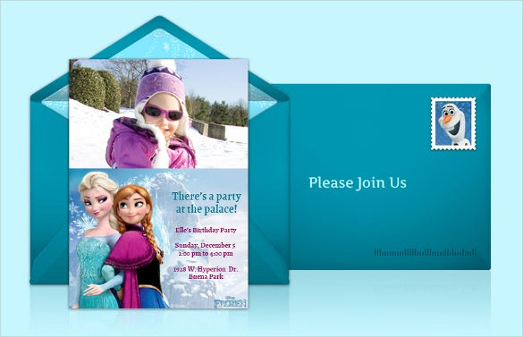 blue coloured picture based frozen birthday invitation
