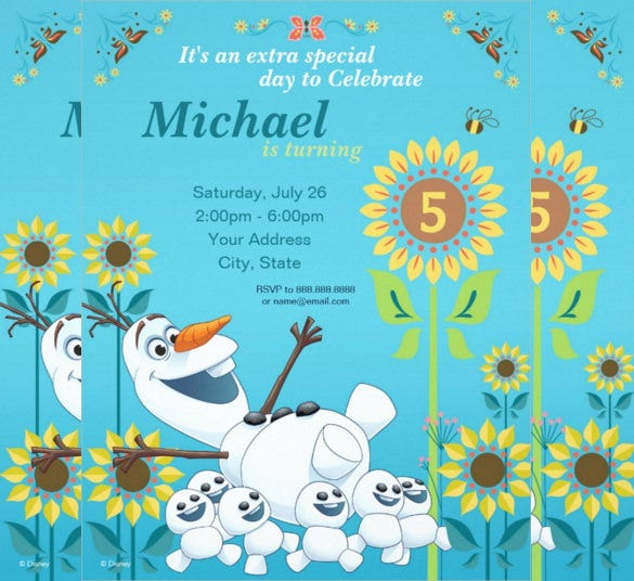 disney olaf summer frozen birthday invitation