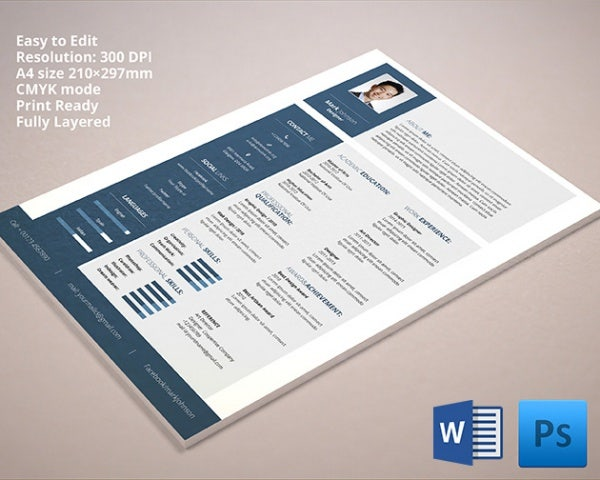 Microsoft Word Resume Template – 99+ Free Samples, Examples